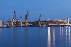 Industriell hamn i Malta Arkivfoto