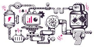 Industriell illustrationbakgrund för vektor av fungerande mechaen stock illustrationer