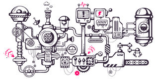 Industriell illustrationbakgrund för vektor av fungerande mechaen Arkivbilder