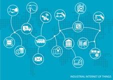 Industriell internet av begreppet för saker (IOT) Världskarta av förbindelsevärdekedjan av gods stock illustrationer