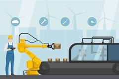 Industriell internet av saker stock illustrationer