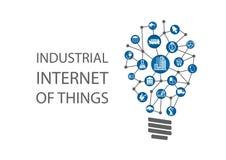 Industriell internet av saker (bransch 4 0) illustration stock illustrationer