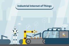 Industriell internet av saker Modern digital fabrik 4 royaltyfri illustrationer