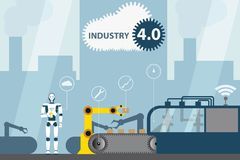 Industriell internet av saker Modern digital fabrik 4 vektor illustrationer