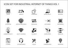 Industriell internet av sakersymbolsuppsättningen royaltyfri illustrationer