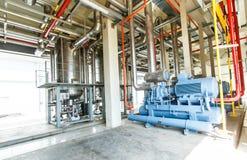 industriell kompressorkylningstation på den fabriks- fabriken Royaltyfria Bilder