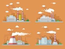 Industriell landskapuppsättning Kärnkraftverket och fabriken på Arkivbilder