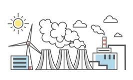 industriell liggande Olika typer av kraftverk Kraftverk och vindkraftväxt Tunn linje stilvektor vektor illustrationer