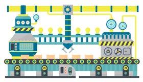 Industriell linje emballagekartonger för fabrikstransportör Robotic transportbandsystem, industriell maskin, produktion royaltyfri illustrationer