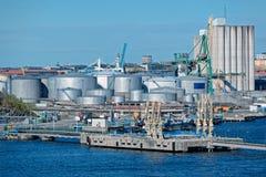 Industriell port av Stockholm Arkivfoto
