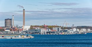 Industriell port av Stockholm Arkivfoton