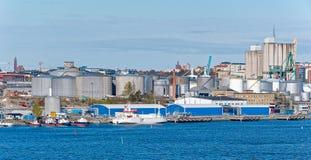 Industriell port av Stockholm Fotografering för Bildbyråer