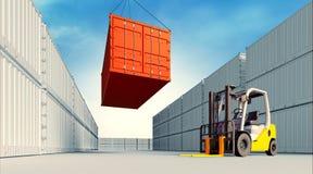 Industriell port med behållare och gaffeltrucken Royaltyfria Bilder