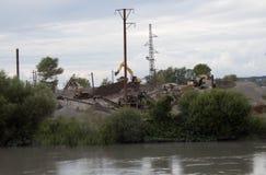 Industriell process för avbrottssten Kalkstenvillebråd och krossad stenbearbetningsanläggning Arkivbild