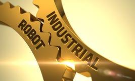 Industriell robot på guld- kugghjul 3d Arkivbild