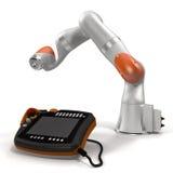 Industriell robotic arm på den vita illustrationen 3D Royaltyfri Fotografi