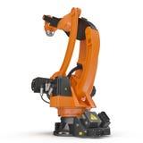 Industriell Robotic arm som isoleras på vit 3D illustration, snabb bana Fotografering för Bildbyråer