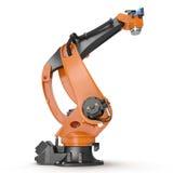 Industriell Robotic arm som isoleras på vit 3D illustration, snabb bana Royaltyfri Fotografi