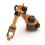 Industriell Robotic arm som isoleras på vit 3D illustration, snabb bana royaltyfri illustrationer