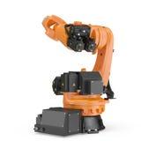Industriell Robotic arm som isoleras på vit 3D illustration, snabb bana stock illustrationer