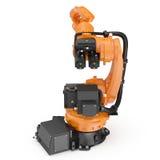 Industriell Robotic arm som isoleras på vit 3D illustration, snabb bana Royaltyfri Bild
