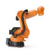 Industriell Robotic arm som isoleras på vit 3D illustration, snabb bana Arkivfoto