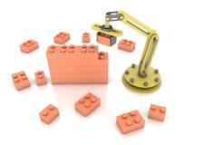 industriell robotic för byggnadstegelsten för mekanisk arm 3d bakgrund för illustration för vägg stock illustrationer