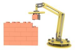 industriell robotic för byggnadstegelsten för mekanisk arm 3d bakgrund för illustration för vägg royaltyfri illustrationer