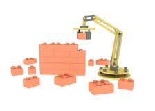 industriell robotic för byggnadstegelsten för mekanisk arm 3d bakgrund för vit för illustration för vägg Royaltyfria Bilder