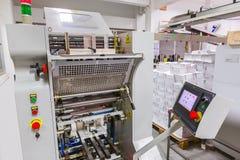 Industriell skrivarmaskin med bildskärmkontrollbordet av fabriken Royaltyfri Fotografi