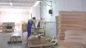 Industriell snickarearbetare på möblemangfabriken arkivfilmer