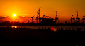 Industriell solnedgång 3 Arkivbilder