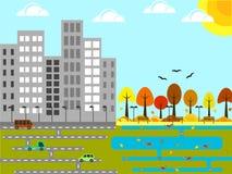 Industriell stad med en parkera och ett damm Autumn Flat Desig vektor illustrationer