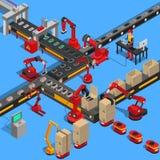 Industriell transportörprocess av att producera teknik stock illustrationer