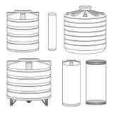 Industriell uppsättning för vattenbehållare vektor Arkivbilder
