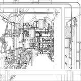 Industriell utrustning. Tråd-ram  Royaltyfria Bilder