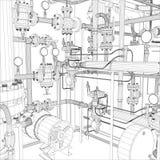 Industriell utrustning. Tråd-ram  Arkivfoto