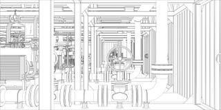 Industriell utrustning. Tråd-ramen 3d framför Fotografering för Bildbyråer