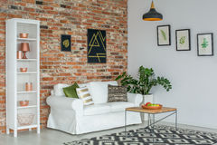 Industriell vardagsrum med soffan arkivbilder