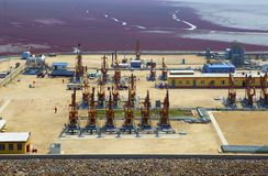 Industriell zon för bensin Arkivfoto