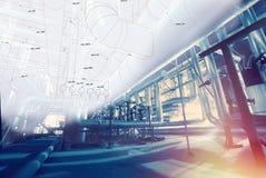 Industriell zon, stålrörledningar och kablar i blåa signaler royaltyfri fotografi