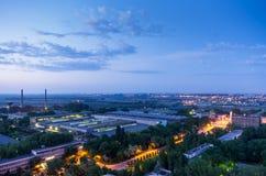 Industriella byggnader efter solnedgång Royaltyfri Fotografi
