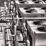 Industriella fans för HVAC-luftkonditioneringsapparatkompressor Arkivbild