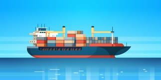 Industriella frakter för export för import för behållare för havslastlogistik sänder internationalen för begreppet för vattenleve stock illustrationer