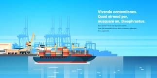Industriella frakter för export för import för behållare för logistik för last för havsport sänder begrepp för trans. för kranvat stock illustrationer