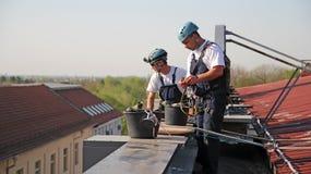 Industriella klättrare som förbereder sig för att klättra Arkivfoton