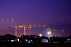 Industriella konstruktionskranar Fotografering för Bildbyråer