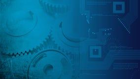 Industriella kuggar för buckliga kugghjul för stålgrunge som glansiga transitioning till technologic digitala strömkretsar Arkivbilder