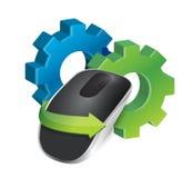 Industriella kugghjul och trådlös datormus Arkivbild