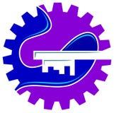 industriella logolösningar royaltyfri illustrationer
